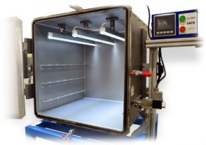 Cube vacuum chamber system with optional viewing porthole, shelving, and lights for altitude simulation