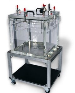 Cube Clear Vacuum Chamber with shelf and cart for portable leak package testing