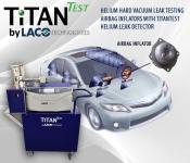 HELIUM hard vacuum LEAK TESTING AIRBAG INFLATORS With TITANTEST helium LEAK DETECTOR