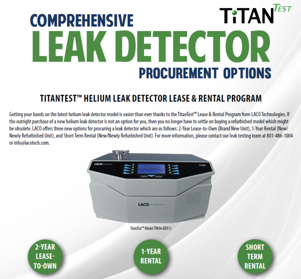 TitanTest Helium Leak Detector Lease and Rental Program - LACO Technologies